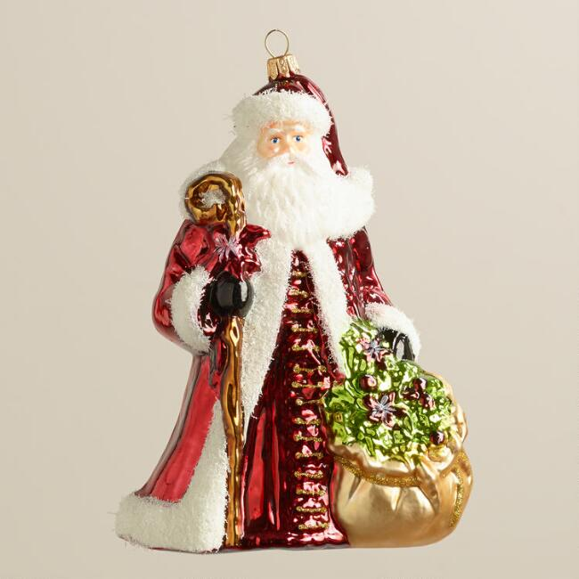 European Glass Wreath Santa Ornament
