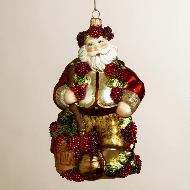 European Glass Wine Santa Ornament