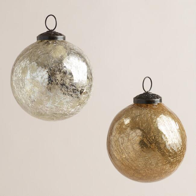 Silver and Gold Crackle Mercury Glass Ornaments, Set of 2