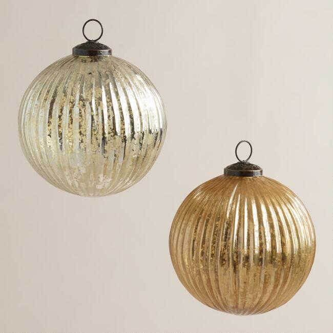 Silver and Gold Fluted Mercury Glass Ornaments, Set of 2