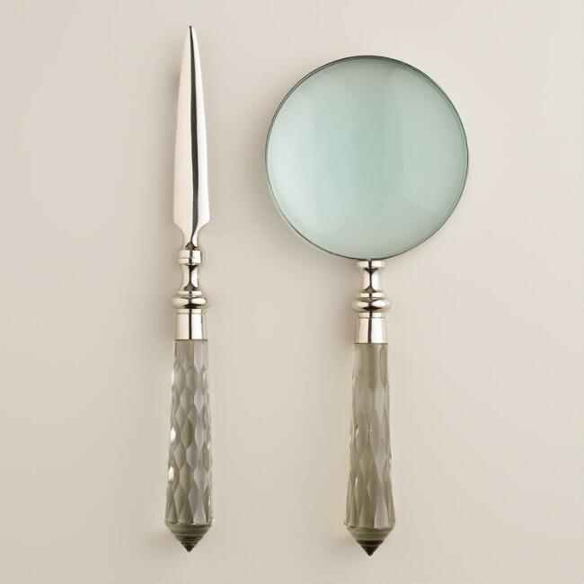 Silver and Glass Magnifying Glass and Letter Opener Set