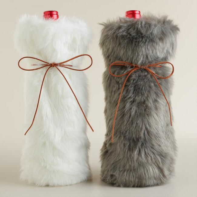 Faux Fur Wine Bags, Set of 2