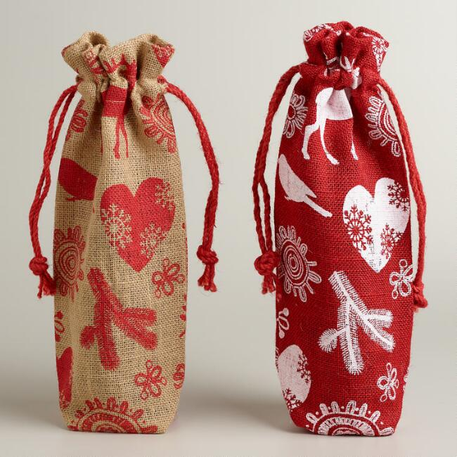 Jute Christmas Wine Bags, Set of 2