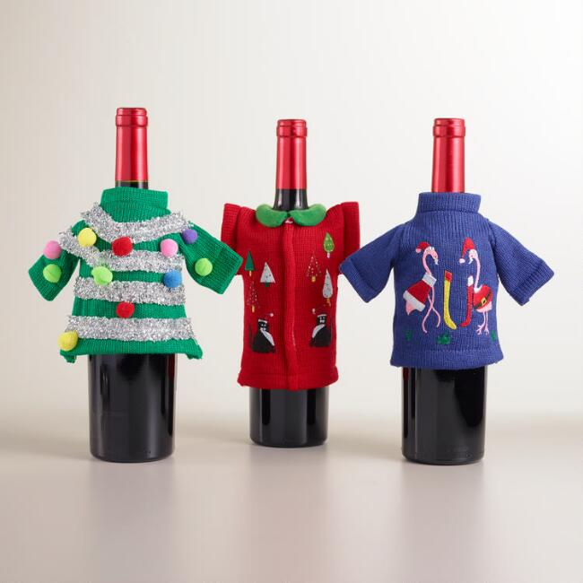 Ugly Sweater Wine Bottle Outfits, Set of 3