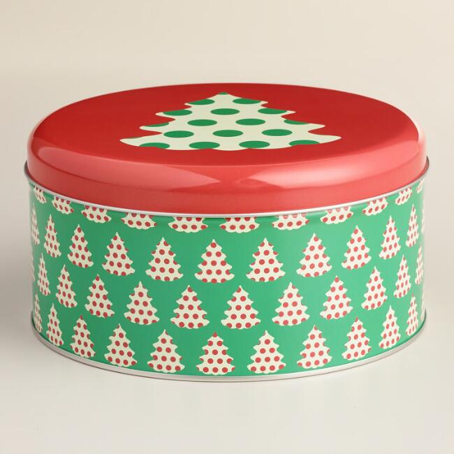 Small Round Holiday Tree Cookie Tin
