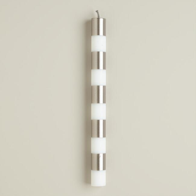 Striped Silver Taper Candles, 6-Pack