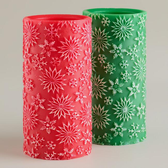 3x6 Red and Green LED Flameless Candles, Set of 2