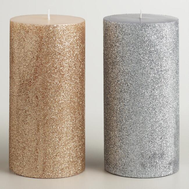 3x6 Silver and Gold Glitter Pillar Candles, Set of 2