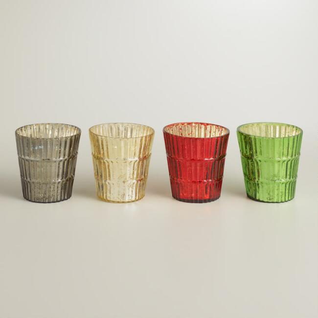 Ribbed Mercury Glass Votive Candleholders, Set of 4