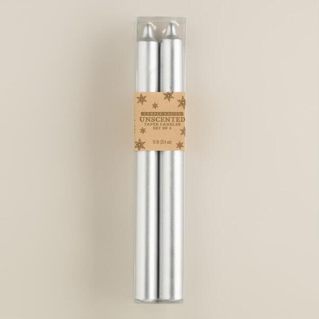 Silver Taper Candles, 4-Pack
