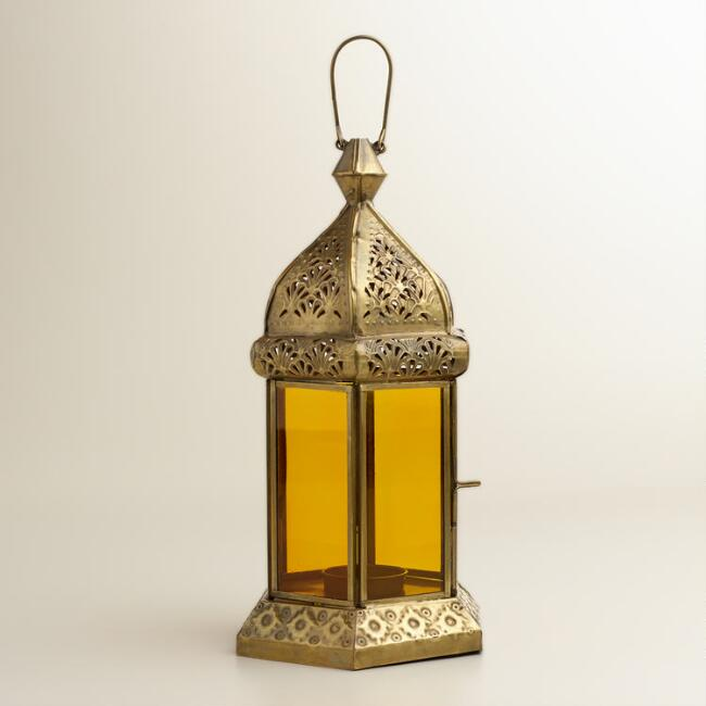 Amber Hexagon Tarika Tabletop Lantern