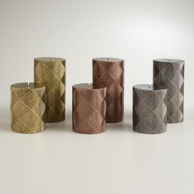 Metallic Deco Pillar Candles