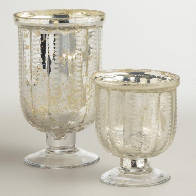 Etched Footed Mercury Gl Hurricane Candleholders