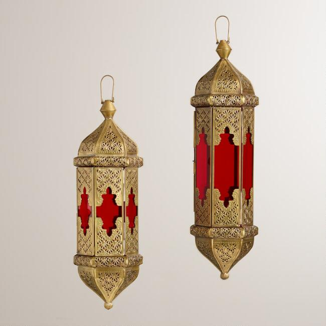 Red Hexagon Tarika Hanging Lantern