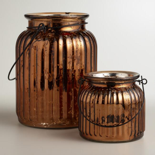 Copper Ribbed Mercury Glass Lantern Candleholders