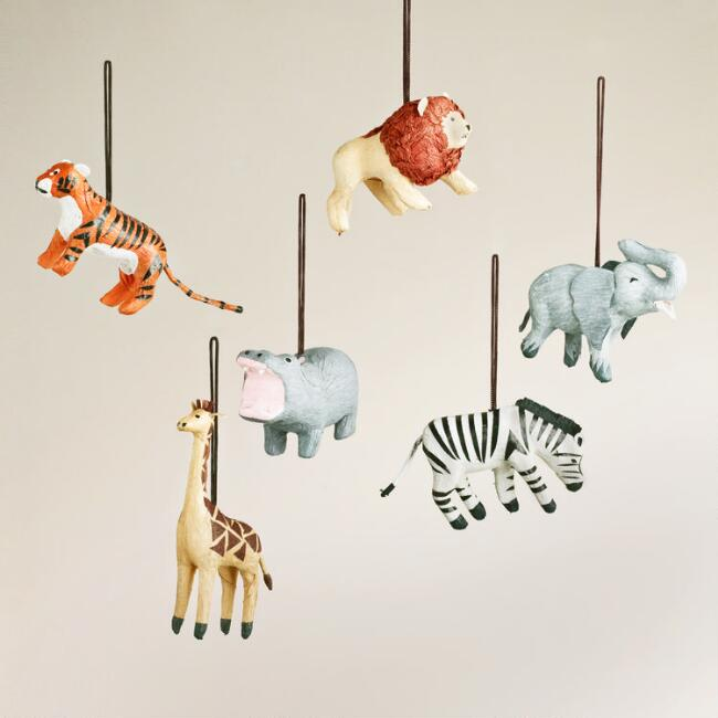 Paper Safari-Animal Ornaments, Set of 6