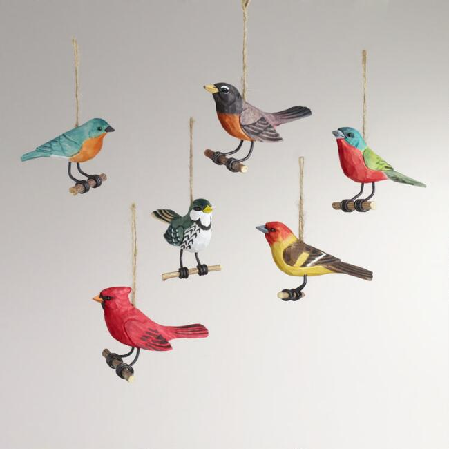 Wood Bird on Perch Ornaments,  Set of 6
