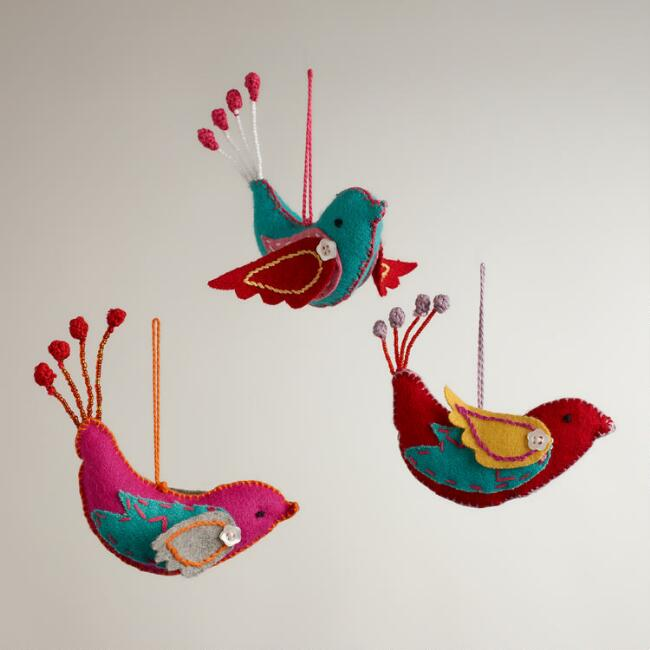 Felt Stitched Bird Ornaments,  Set of 3