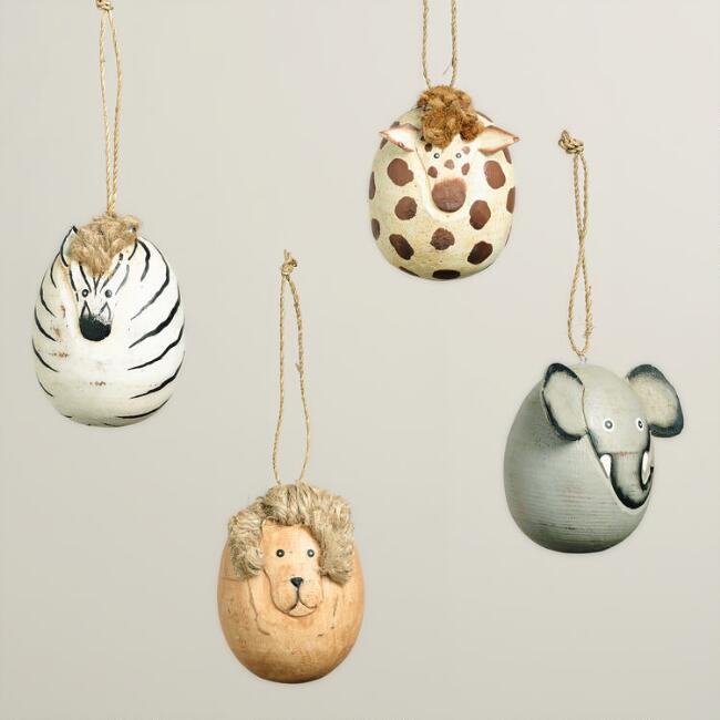 Wooden Egg-Shaped Safari Animal Ornaments, Set of 4