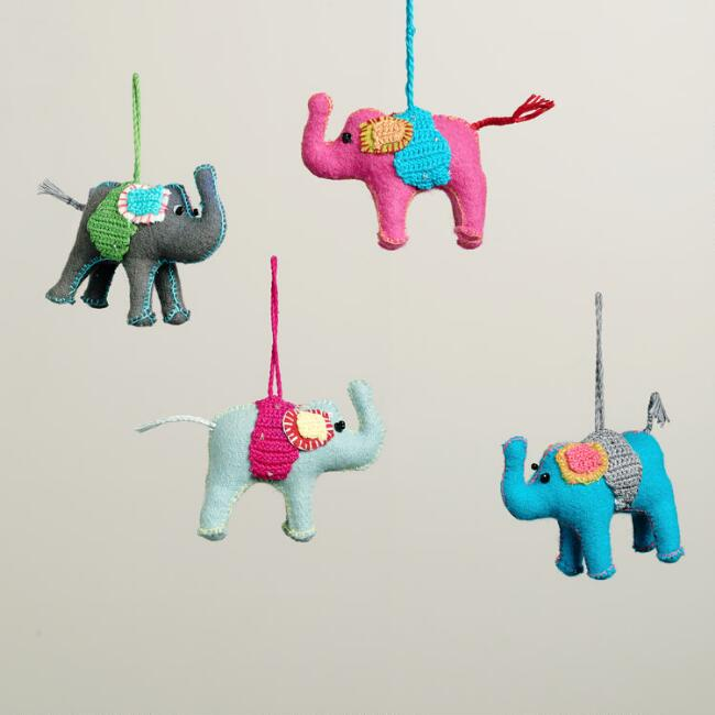 Crochet Fabric Elephant Ornaments, Set of 4