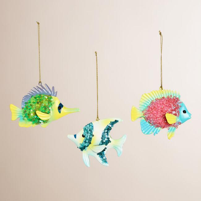 Embellished Metal Tropical Fish Ornaments, Set of 3