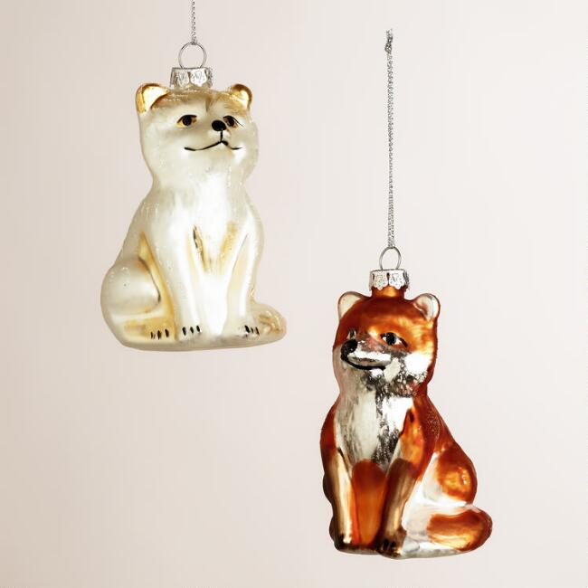 Glass Fox Ornaments, Set of 2