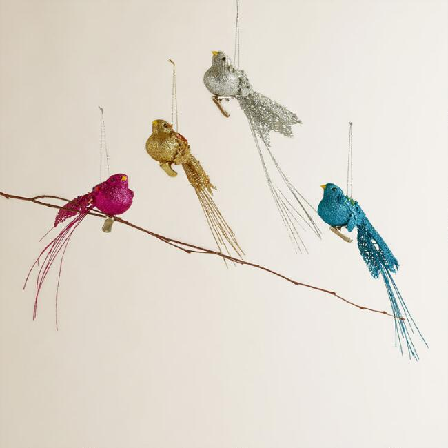Long Tail Bird Ornaments, Set of 4