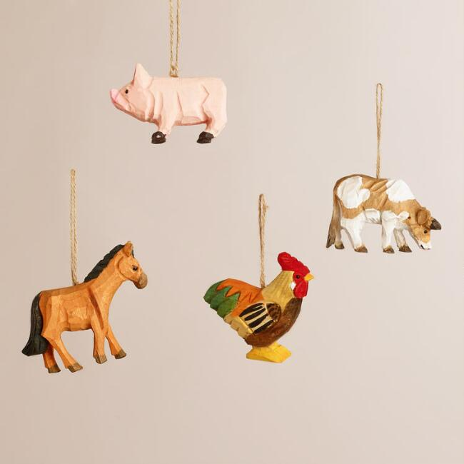 Wooden Farm Animal Ornaments, Set of 4