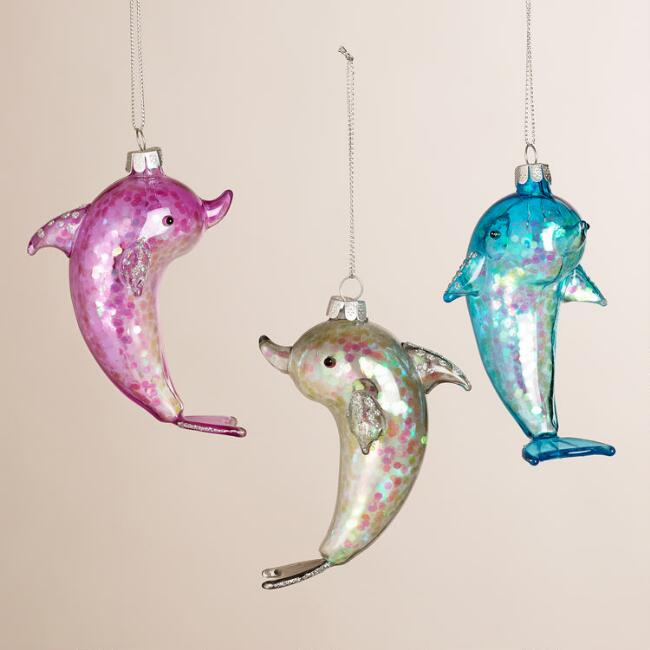 Sparkling Glass Dolphin Ornaments, Set of 3
