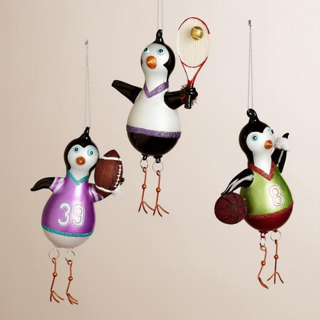 Glass Sport Penguin with Dangle Legs Ornaments, Set of 3