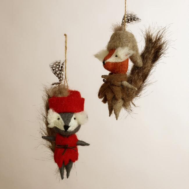 Wool Fox with Jacket Ornaments, Set of 2