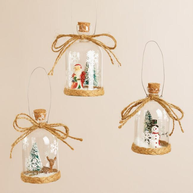 Glass Cloche Ornaments, Set of 3