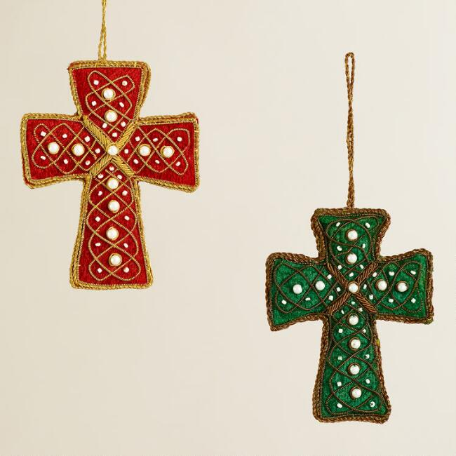 Fabric Zardozi Cross Ornaments, Set of 2