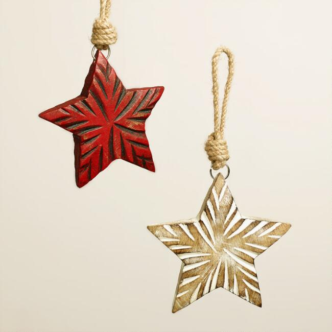 Rustic Wood Star Ornaments, Set of 2