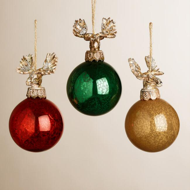 Glass Ball Moose Ornaments, Set of 3