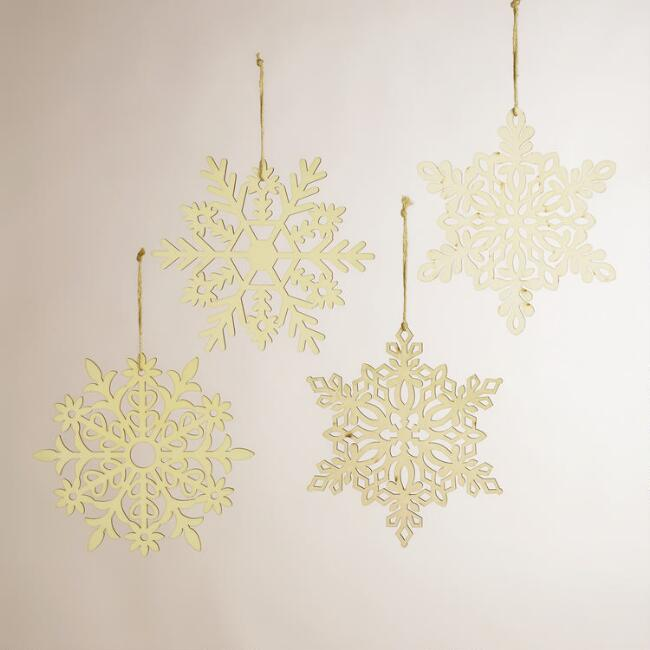 Laser-Cut Wooden Hanging Snowflakes, Set of 4