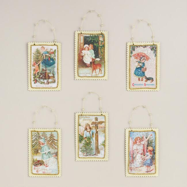 Vintage Reproduction Postcard Ornaments -Set of 6