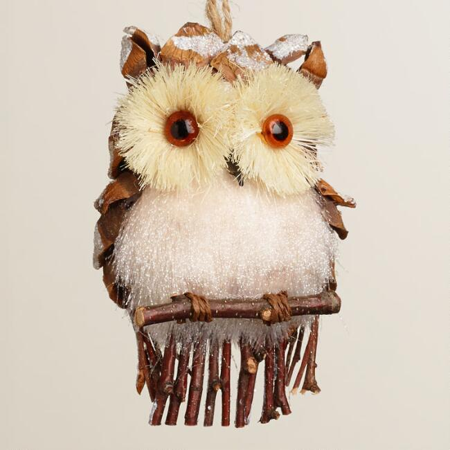 Fabric Owl with Frosted Pinecone Ornament