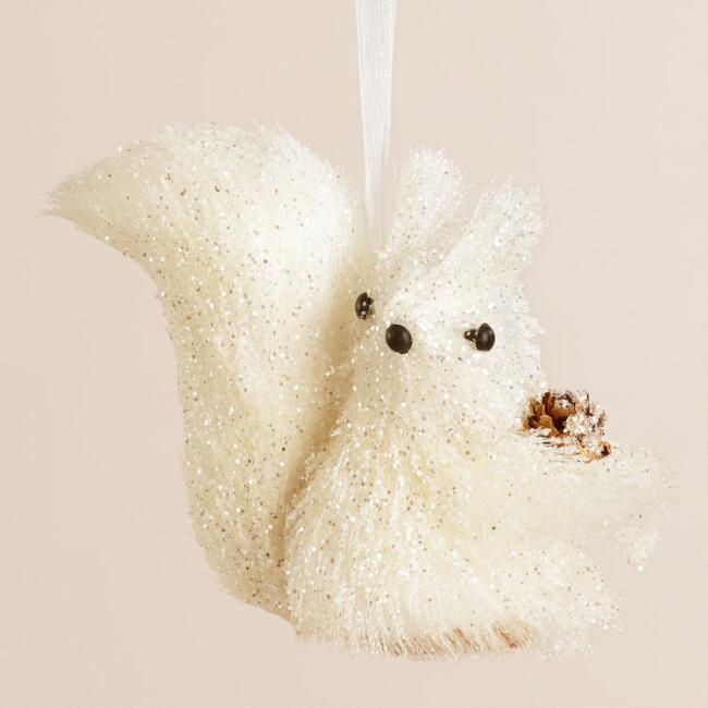 Fabric Squirrel with Pinecone Ornament