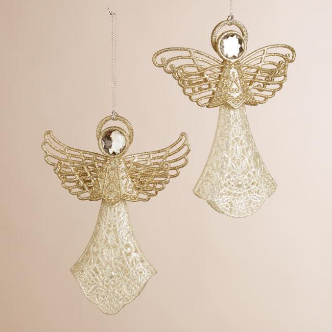 Glittered Angel with Gem Ornaments, Set of 2