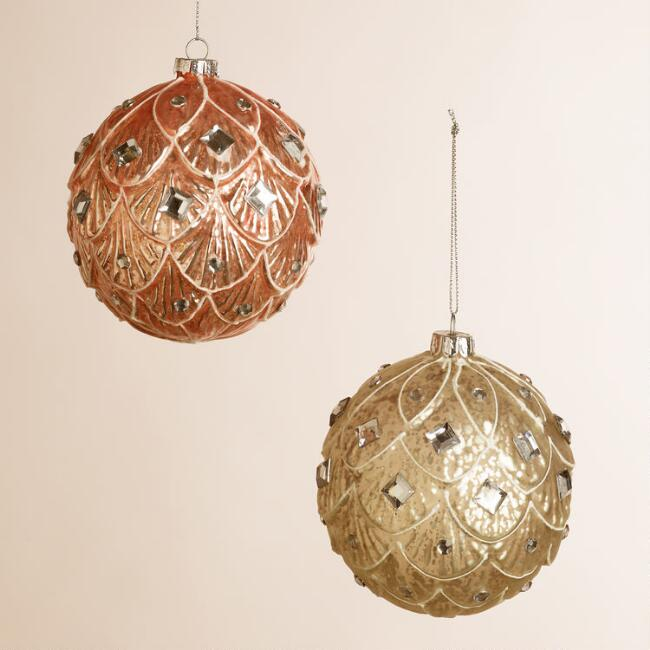 Embellished Glass Lotus Ball Ornaments, Set of 2