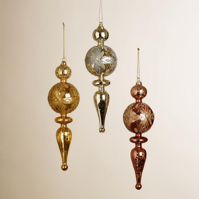 Hand-Painted Glass Finial Ornaments, Set of 3