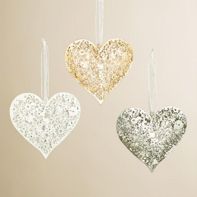 Floral Metal Heart Ornaments, Set of 3
