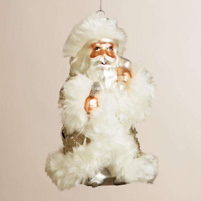 Glass Glam Santa Ornament