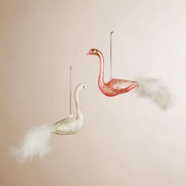 Mercury Glass Feather Swan Ornaments, Set of 2