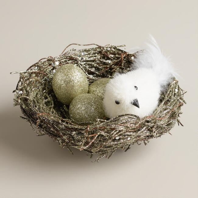 Twig Nest with Bird Eggs