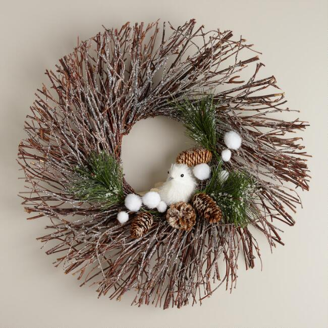 Twig Wreath with White Bird