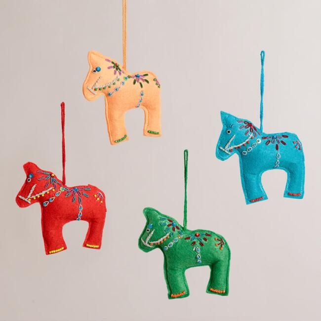 Felt Swedish Horse Ornaments, Set of 4
