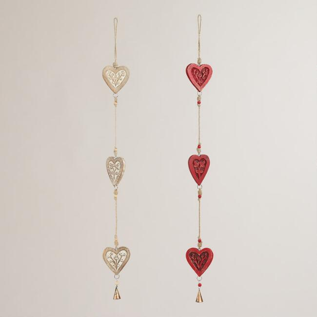 Wooden Triple Heart Wall Decor, Set of 2