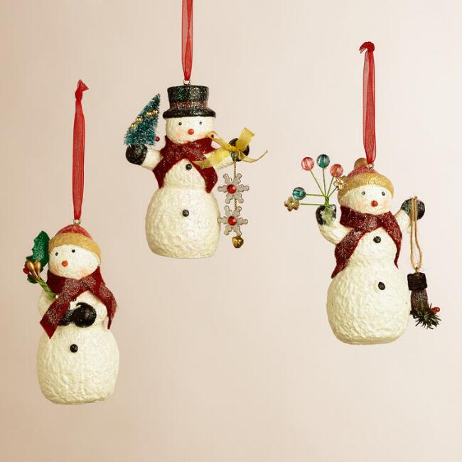 Paper Pulp Snowman Ornaments, Set of 3